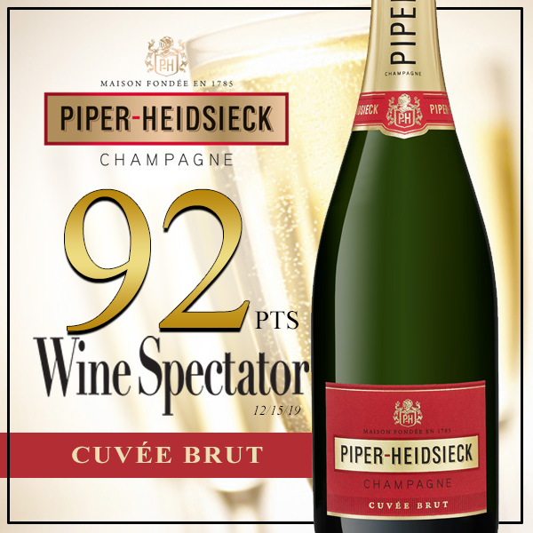 Piper Cuvee Brut awarded 92 points from Wine Spectator
